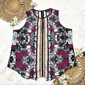 Massimo Multicolor Floral Print Sleeveless Top